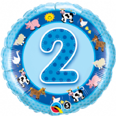 2nd Birthday Farm Animals Blue Foil Balloon